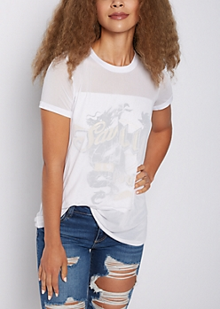 Foiled Split Screen Mesh Tee