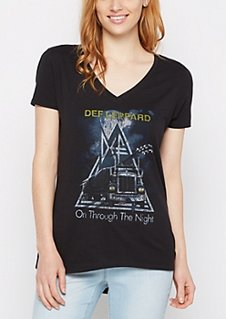 Def Leppard On Through The Night V-Neck Tee
