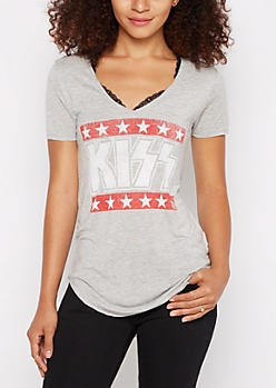 Kiss Logo V-Neck Tee