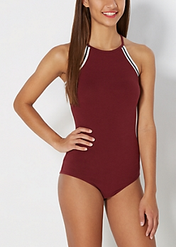 Burgundy High Neck Striped Trim Bodysuit
