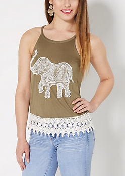 Olive Crochet Elephant Tank Top