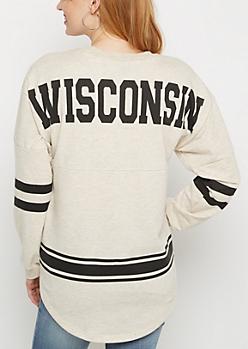 Wisconsin Marled Drop Yoke Top