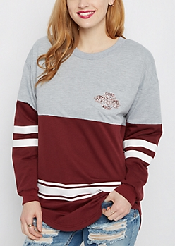 Good Vibes Elephants Striped Football Sweatshirt