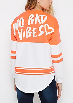 Neon No Bad Vibes Striped Football Sweatshirt