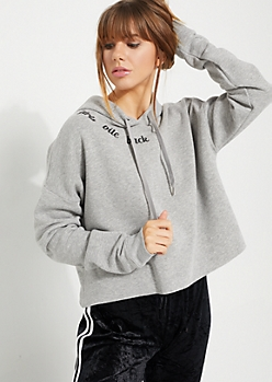 Gray Girls Bite Back Cropped Hoodie