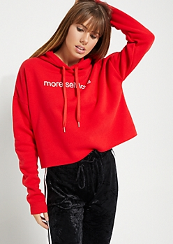 Red More Self Love Cropped Hoodie