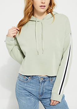 Light Green Stripe Fleece Crop Hoodie