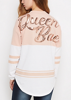 Queen Bae Sequined Drop Yoke Sweatshirt