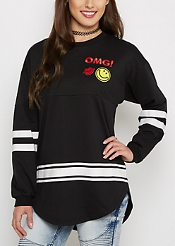 OMG! Drop Yoke Patched Sweatshirt