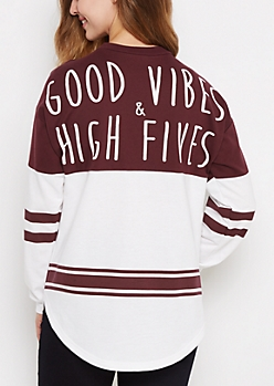 Good Vibes Patched Drop Yoke Sweatshirt