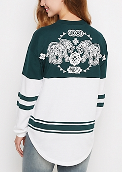 Good Vibes Elephant Tribal Drop Yoke Sweatshirt