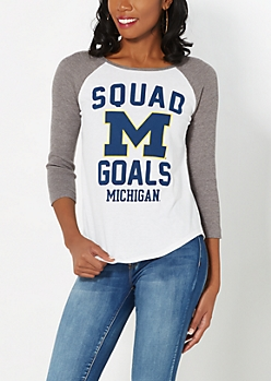 Michigan Wolverines Thermal Raglan Tee