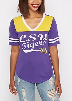 LSU Tigers Distressed Gridiron Tee