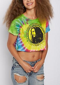 Bob Marley Tie Dye Crop Tee