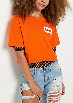 NASA Throwback Logo Raw Edge Crop Top
