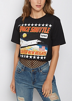 NASA Space Shuttle Raw Edge Crop Top