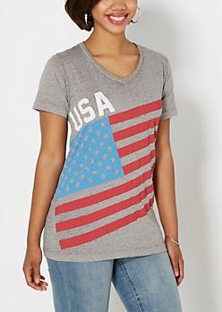 USA American Flag V-Neck Tee