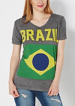 Brazilian Flag Burnout Tee