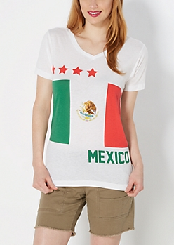 Mexican Flag V-Neck Tee