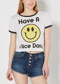 Have a Nice Day Ringer Crop Top