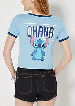 Ohana Stitch Ringer Crop Top
