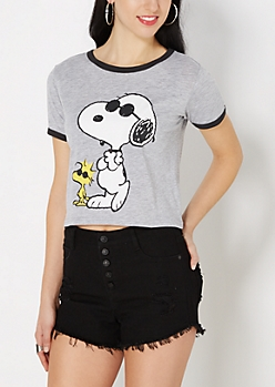 Snoopy & Woodstock Ringer Crop Top