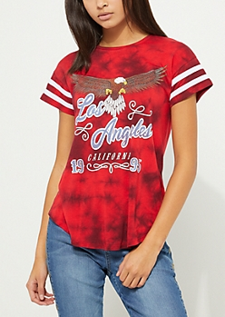 Red Los Angeles Tie Dye Athletic Tee