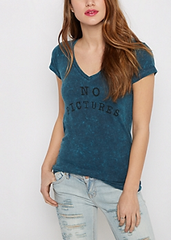 No Pictures Washed V-Neck Tee
