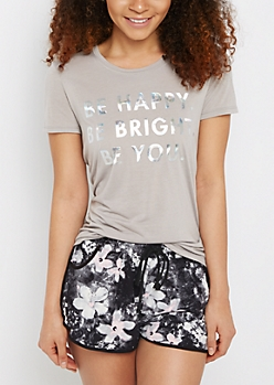 Be Happy Iridescent Foil Tee