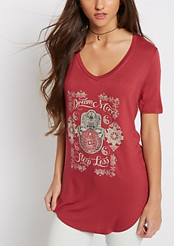 Dream More Sleep Less Deep V-Neck Tee