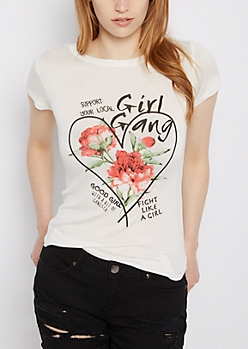 Girl Gang Floral Shirttail Tee