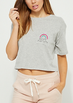 Radiate Positivity Rainbow Crop Tee