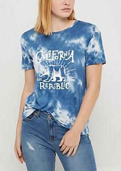 Blue Tie Dye California Republic Tee