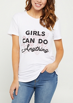 Girls Can Do Anything Floral Tee