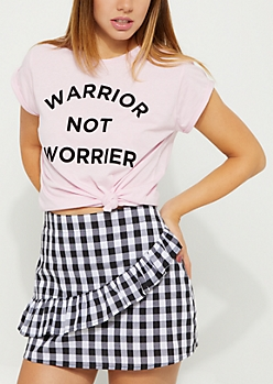 Pink Warrior Not Worrier Cuffed Tee
