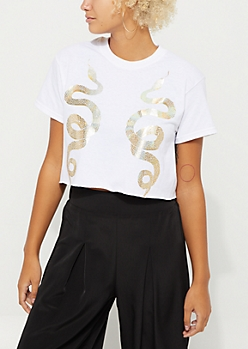 Foiled Snakes Raw Cut Tee