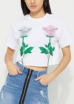 Double Pink Rose Crop Tee