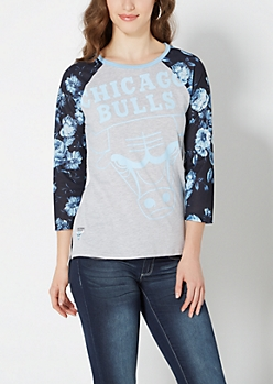 Carolina Blue Chicago Bulls Rose Baseball Tee