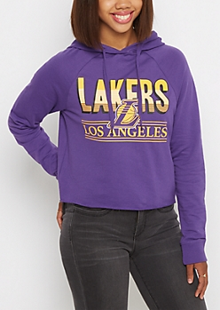 Los Angeles Lakers Raglan Cropped Hoodie