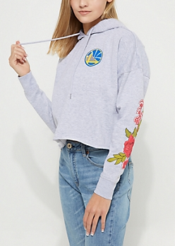 Golden State Warriors Floral Crop Hoodie