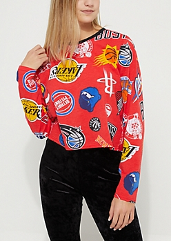 Red NBA Long-Sleeve Crop