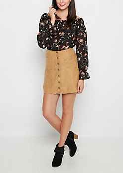 Faux Suede Buttoned Skirt By Sadie Robertson x Wild Blue™