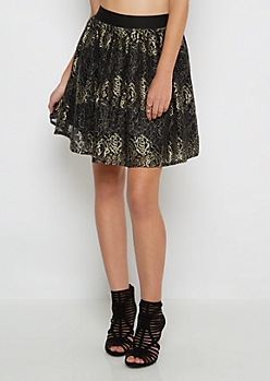 Gold Rose Lace Skater Skirt by Sadie Robertson x Wild Blue