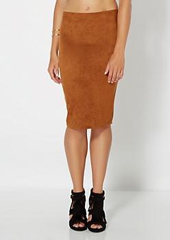 Cognac Faux Suede Midi Skirt