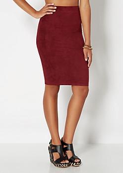 Burgundy Faux Suede Midi Skirt