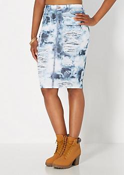 Denim Print Knit Skirt