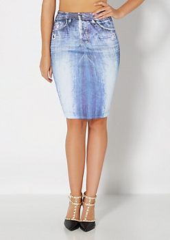 Sandblasted Denim Print Knit Skirt