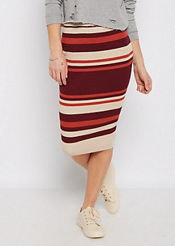 Burgundy Striped Rib Knit Midi Skirt