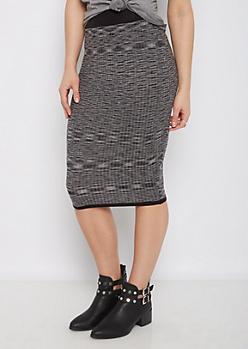 Black Marled Rib Knit Midi Skirt