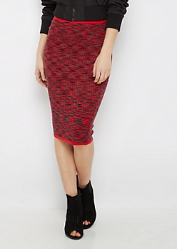 Red Marled Rib Knit Midi Skirt